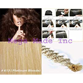 New 25 Strands Deep Wave Curly Pre Bonded U Nail Tip Fusion Remy Human Hair Extensions 22″ Inches-# 613 Platinum Blonde