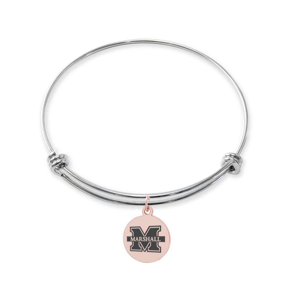 College Jewelry Marshall Thundering Herd Stainless Steel Adjustable Bangle Bracelet with Rose Gold Plated Round Charm