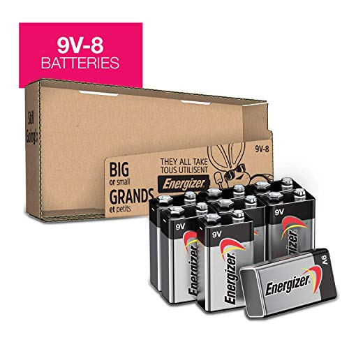 9V Batteries (8 count) Energizer MAX Premium Alkaline 9 Volt Battery for smoke alarms, smoke detectors and other devices -Packaging May Vary