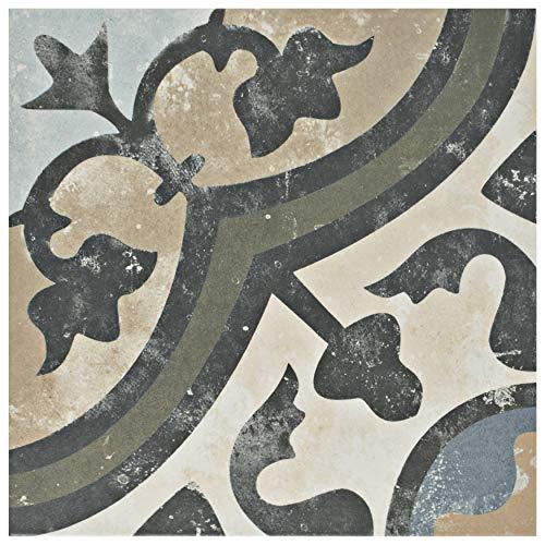 "FCD10EVC FPESAJB Murcia Ceramic Floor and Wall Tile, 13"" x 13"", Blanco, 9.75"" x 9.75"", Carthusian, 16 Piece"