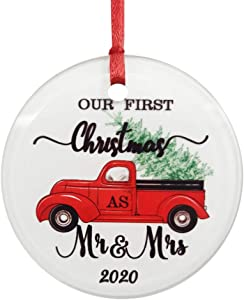 ZUNON Glass Ornament Our First Christmas Ornaments as Mr & Mrs 2020 Couple Gift Red Truck Christmas Tree Xmas Home Decoration Red Truck Farm Ornament (Mr&Mrs 2)