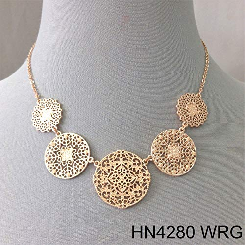 Simple Style Rose Gold Finish Circular Filigree Laser Cut Charm Pendant Necklace LL-2166 ()
