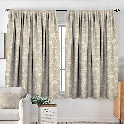 Theresa Dewey Pattern Curtains Tan,Spotted Dotted Display Bubble Forms Water Inspired Abstraction Circular Composition, Tan Eggshell,Rod Pocket Curtain Panels for Bedroom & Kitchen ()