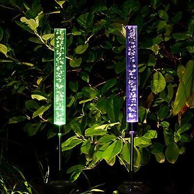 Doingart 2pcs Garden Solar Lights Outdoor Solar Tube Lights Solar Acrylic Bubble RGB Color Changing Solar Powered Garden Stake Lights for Gard Stake Lights for Garden Patio Backyard Pathway Decoration
