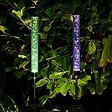Doingart Garden Solar Lights Outdoor - 2 Pack Solar Tube Lights Solar Acrylic Bubble Multi-Color Changing LED Solar Powered Garden Stake Lights,Garden Path Lights for Garden Patio Backyard Pathway De