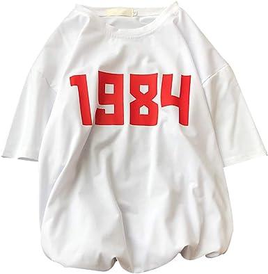 YUFAA Camiseta de Manga Corta Impresa Letra roja 1984 con Cuello Redondo para Mujer Camisa de Entrenamiento (Color : Blanco, Size : 2XL): Amazon.es: Ropa y accesorios