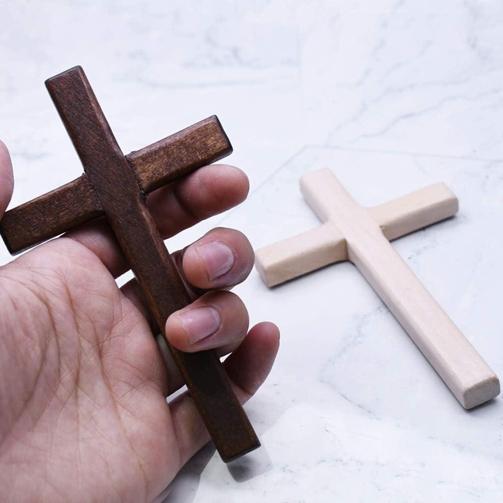 qiuxiaoaa 2Pcs Handmade Wooden Crosses Crucifix Jesus Christ Ornaments Religious Pendant Wooden Cross Brown