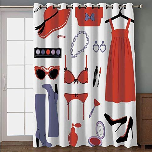 iPrint Blackout Patio Door Curtain,Heels and Dresses,Glamor Items for Women Attire Sunglasses Lingerie Cosmetics Decorative,Coral Lavender Black,for Sliding & Patio Doors, 102