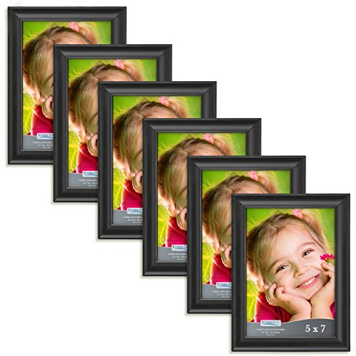 Icona Bay 5x7 Picture Frame (6 Pack, Black), Black Photo Frame 5 x 7, Composite Wood Frame for Walls or Tables, Set of 6 Lakeland Collection
