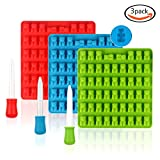 LoveS 3 Pcs 53-Cavity DIY Silicone Molds with 3 Crystal Droppers, Gummy Bear Molds, Candy Molds, Chocolate Molds