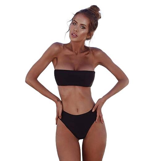 d2255ee398 Photno Women s High Waisted Swimwear Sexy Bandeau Bikini Set Push Up Swimsuit  Two Piece Summer Bathing