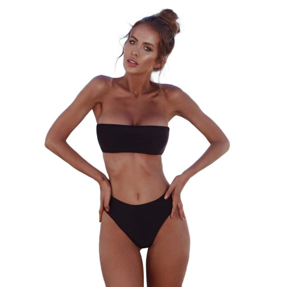 Photno Women's High Waisted Swimwear Sexy Bandeau Bikini Set Push Up Swimsuit Two Piece Summer Bathing Suit Black