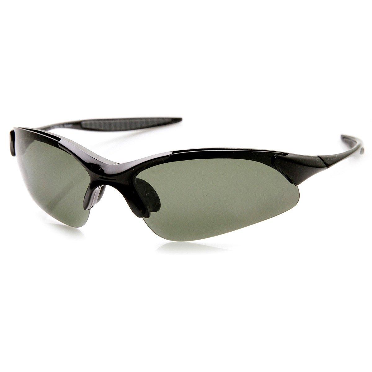 Lightweight Shatterproof TR90 Half Jacket Polarized Lens Sports Sunglasses (Black)