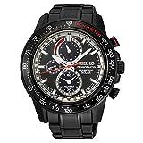 Seiko Sportura Solar Black Ion 100 M Black Stainless Steel Chronograph Watch SSC373