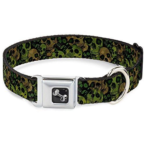 Buckle-Down Seatbelt Buckle Dog Collar - Camo Olive/Black Skull Yard2 - 1.5