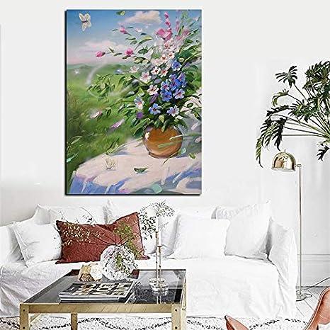 hetingyue Jarrón Moderno con Estampado de Flores, Pintura al óleo Abstracta sobre Lienzo, Arte de la Pared, Imagen Moderna, decoración de la Sala de Estar 50x75 cm