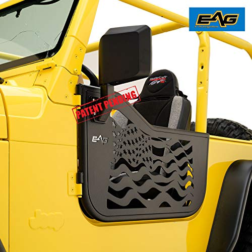 - EAG US Flag Tubular Door Steel Body Armor with Side View Mirror for 97-06 Jeep Wrangler TJ