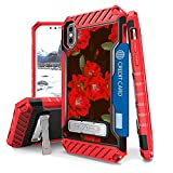 Iphone X Case, Trishield Durable Shockproof High Impact Rugged Armor Phone Cover With Detachable Lanyard Loop Card Slot Built In Kickstand For Iphone X - Red Flowers