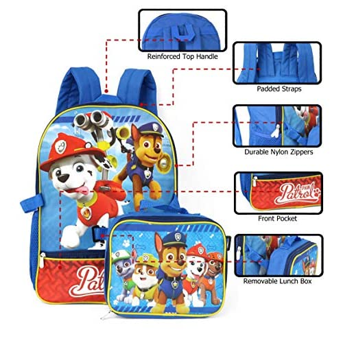 Nickelodeon Boys' Paw Patrol Backpack with Lunch, Blue/Red