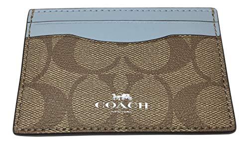Coach Signature PVC Card Case Khaki Pale Blue F63279