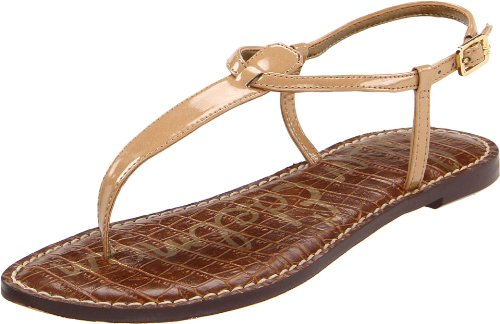 Sam Edelman Women's Gigi Patent T Strap Sandals, Almond, Brown, 4 M US