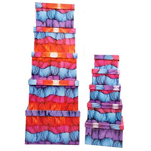 Aufbewahrungsboxen / Schachteln im 10er Set Design Garn / Wolle mit Deckel