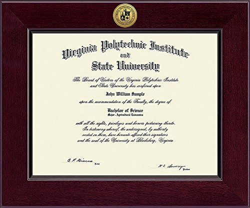Tech University Diploma Frame - Elite Fan Shop Virginia Tech Hokies Diploma Frame - Brown