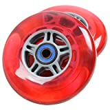 TGM Skateboards 2 Scooter Wheels With Abec 7 Bearings for RAZOR SCOOTER 100mm (red)