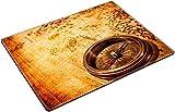 MSD Place Mat Non-Slip Natural Rubber Desk Pads design 19982058 Vintage still life Vintage compass lies on an ancient world map