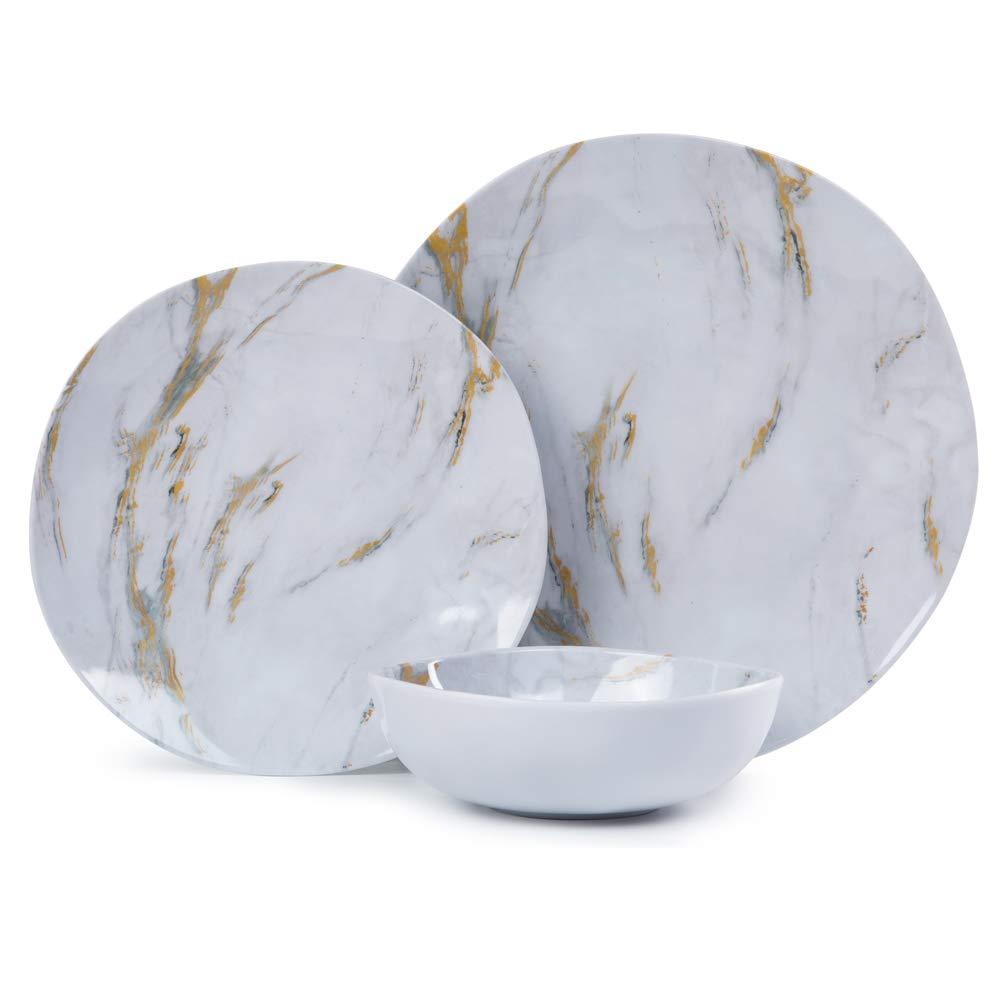 Melamine Dinnerware Set - 12pcs Dishes Dinnerware Set for 4, Everyday Use, Marble Pattern, Dishwasher Safe by Yinshine