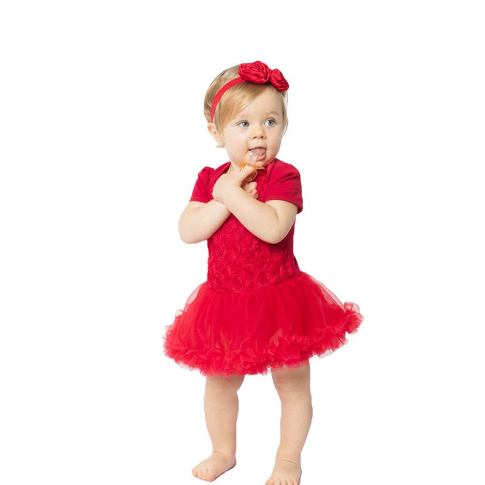 Beide Baby Girls Princess Rose Dress Short Sleeve with Headwear for Wedding Party(Red,3-6m)