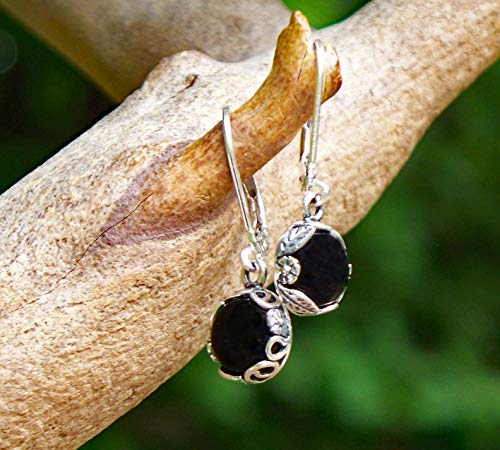 - Recycled Antique Black Depression Glass Sterling Silver Botanical Leverback Earrings