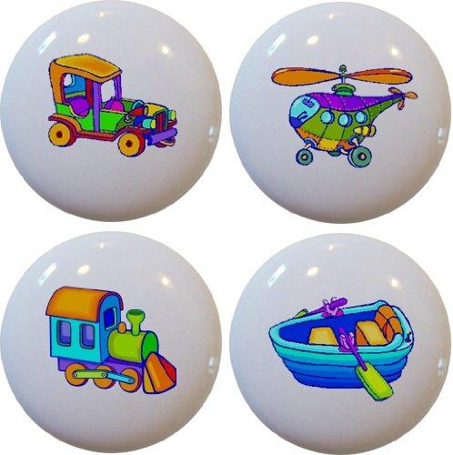 Drawer Plane Knob (Set of 4 Plane Train Car Boat Ceramic Cabinet Drawer Pull Knobs)