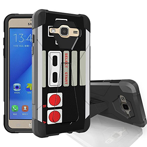 MINITURTLE Case Compatible w/ Samsung Galaxy J3, Galaxy Amp Prime, Galaxy Sol, & Galaxy Express Prime [SHOCK FUSION 2 Piece ] - Retro Controller