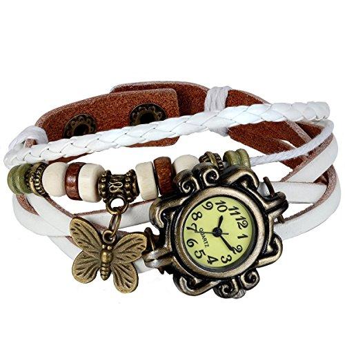 Watch White Ladies Bracelet (JewelryWe New Women Wristwatch Butterfly Quartz Vintage Weave Wrap Leather Strap Girl Lady Bracelet Watch)