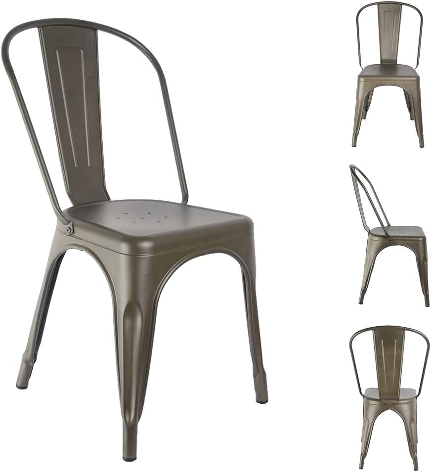 H JINHUI Dining Room Chairs, Stackable Side Chairs Set of 4, Industrial Mid Century Vintage Modern Style for Indoor Outdoor Use, Bronze