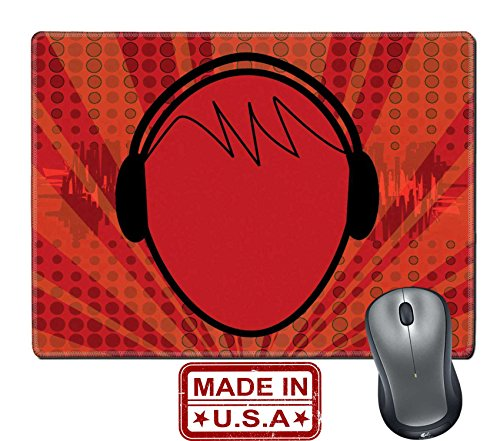 """Liili Natural Rubber Mouse Pad/Mat with Stitched Edges 9.8"""" x 7.9"""" Music Head Photo 1156082"""
