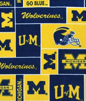 Michigan Wolverines Allover NCAA Fleece Fabric - by the Yard by Online Fabric ()