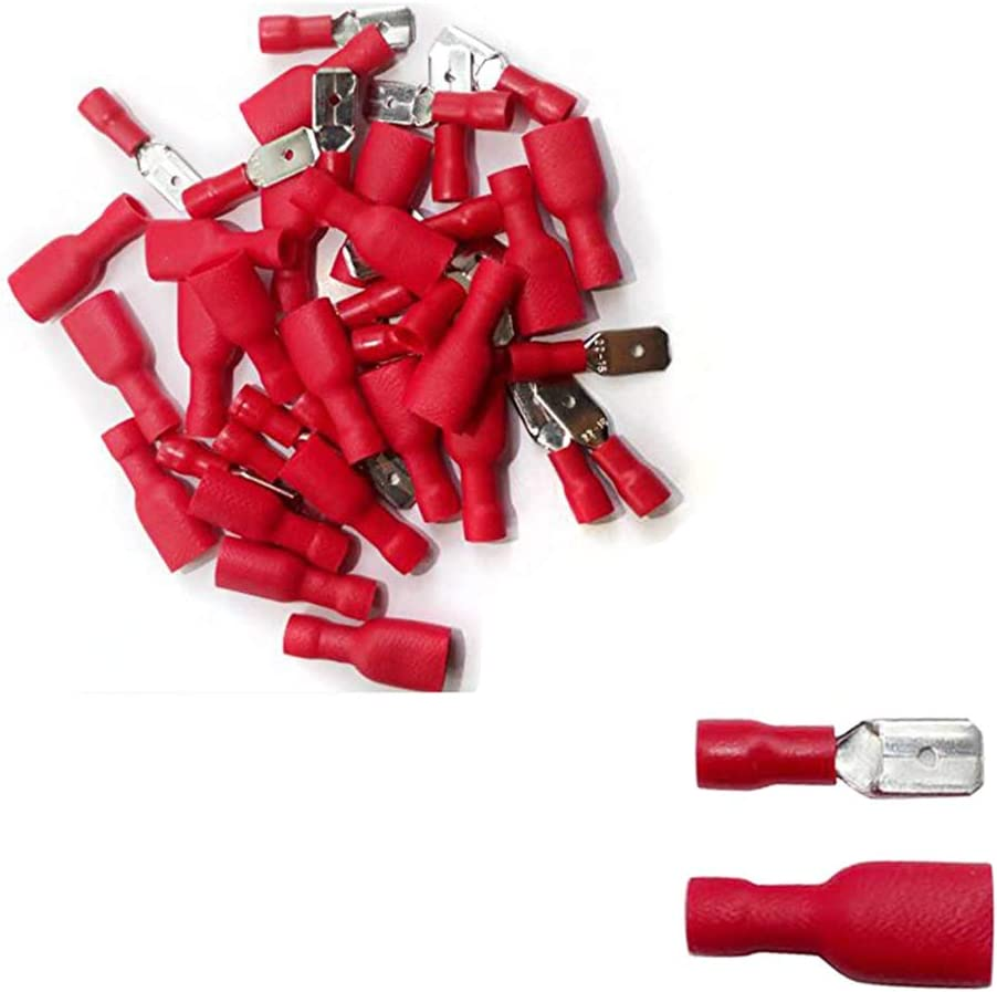Red Male Lucar 6.3mm Terminals QTY 50
