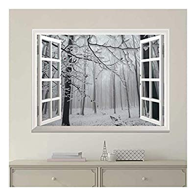 Modern White Window Looking Out Into a Snowed in Forest - Wall Mural, Removable Sticker, Home Decor - 36x48 inches