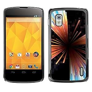 Caucho caso de Shell duro de la cubierta de accesorios de protección BY RAYDREAMMM - LG Google Nexus 4 E960 - Glass Abstract Black Hole Lines