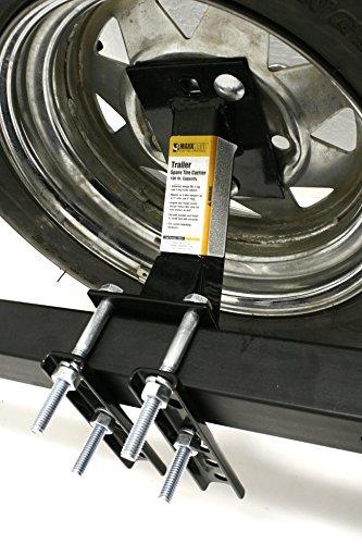 MaxxHaul 80071 Powder Coat Black Trailer Spare Carrier with Tire Locking Bracket