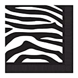 Club Pack of 192 Black and White Zebra Print Disposable 2-Ply Beverage Napkins