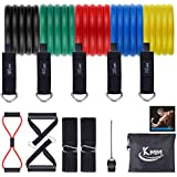 KMM Resistance Bands Set(12pcs)  Exercise Bands with Figure 8 Resistance Band  Handles  Carry Bag  Door Anchor & Ankle Straps  Workout Bands for Resistant Training (Multicolor)