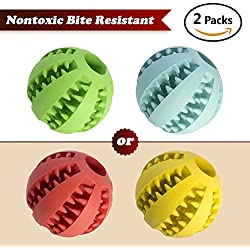 Worcas 2 pcs(1 green +1 Blue )pet toys IQ Treat Ball Food Dispensing Toys Non-Toxic Soft Rubber Ball (2.8in)Durable Non Toxic Tooth Cleaning for Pet Training/Playing/Chewing, Enhace your Pets Playing