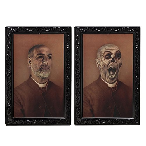 UIYTR 3D Changing Face White Haired Old Man Halloween Lenticular Horror Portrait Haunted Spooky Decorations ()