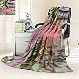 Decorative Throw Duplex Printed Blanket Beautiful spa Composition with Flowers and Candles on Black |Home, Couch, Outdoor, Travel Use/59 W by 47'' H