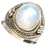 Natural Rainbow Moonstone Handmade Unique 925 Sterling Silver Ring 8.5 Y4131