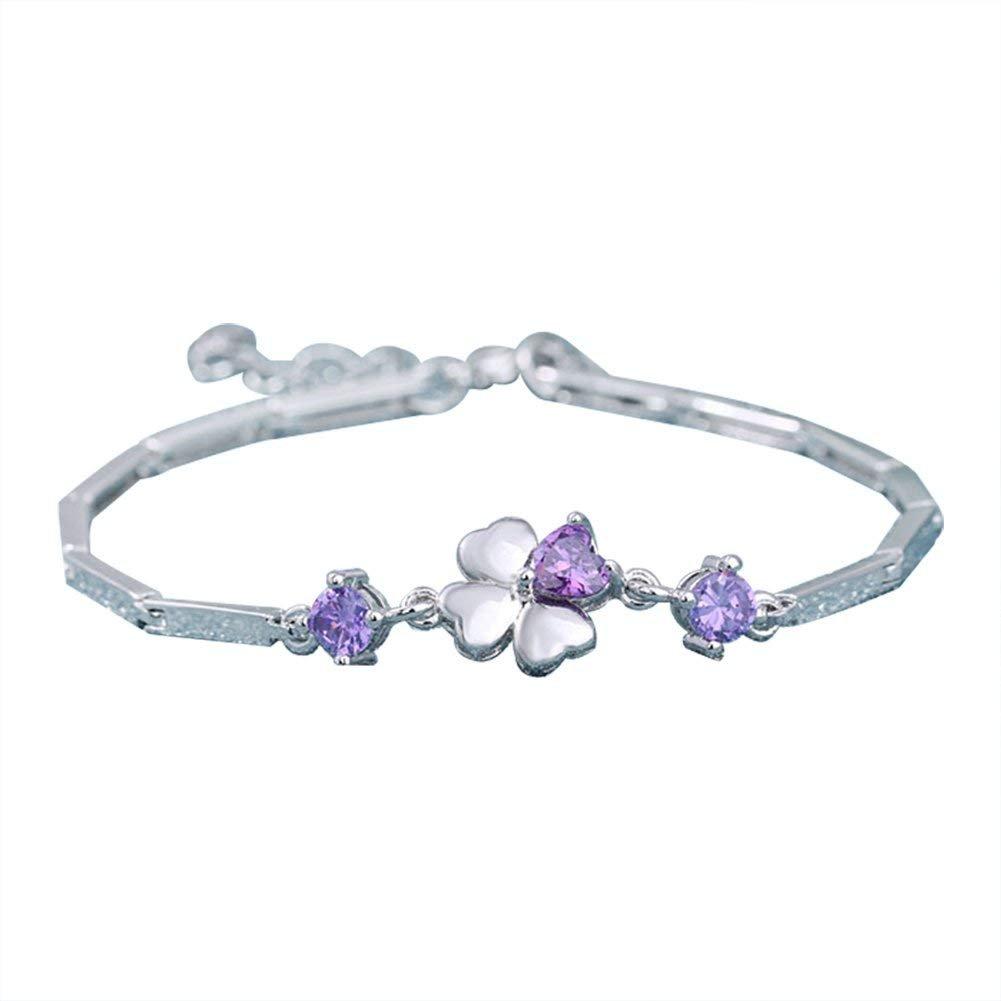 GTHYUUI 1X Charm Fashion Checkered Colorful Diamond Bracelet Chain Silver For Women Girls