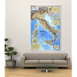 1995 Italy Map Giant Art Poster Print by National Geographic Maps, 48x72